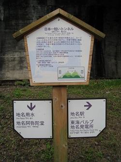 日本一短いトンネル(案内看板)