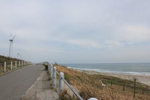 太平洋岸自転車道と砂浜